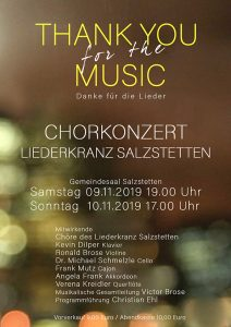 Liederkranz Salzstetten - Chorkonzert 'Thank you for the Musik' @ Gemeindesaal Salzstetten
